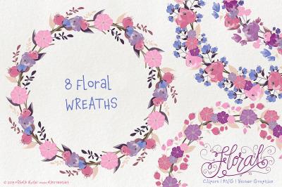 Flower WREATH Clipart Vector Graphics - Flora 25 Purple