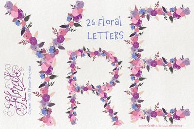Flower LETTERS Clipart Vector Graphics - Flora 25 Purple