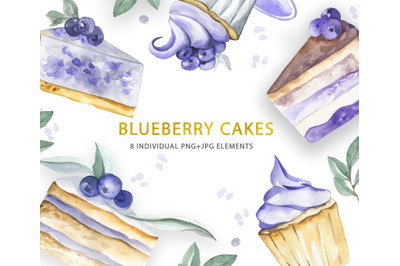 Watercolor Blueberry Cakes collection