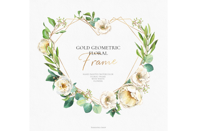 Gold geometric floral frame / floral heart