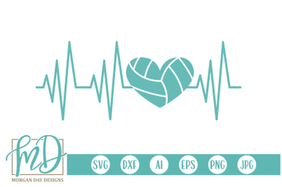 Volleyball Heartbeat SVG