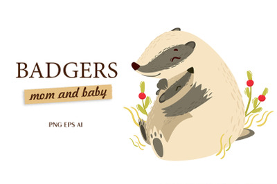 Badgers mom and baby. Cute animals