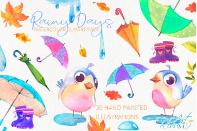 Umbrellas clipart  Fall watercolor umbrella with raindrops boots