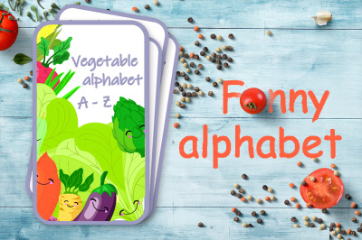 "Cheerful children's alphabet ""Vegetables"". English letters."