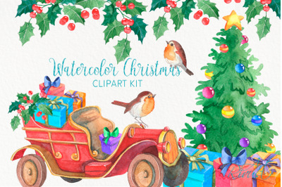 Christmas Truck PNG clipart Merry Christmas Tree Watercolor Clip art