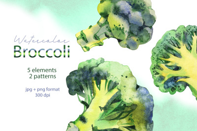 Broccoli. Watercolor cliparts.