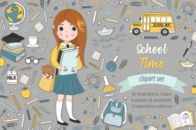 School Time Illustration Set