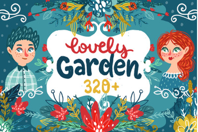 Lovely Garden - Hand-drawn Clipart