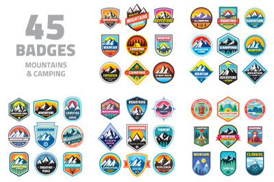 45 Badges & Logos Mountains Camping 45 Badges & Logos Mountains Campi