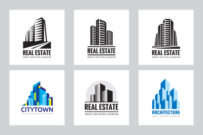 Real Estate Building Logo Set