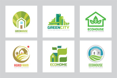 Green Eco House Vector Logo Set