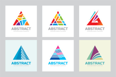 Abstract Pyramid Triangle Logo Set