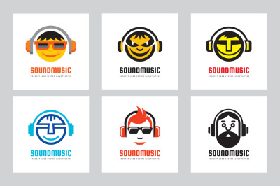 Audio Sound Music Vector Logo Set