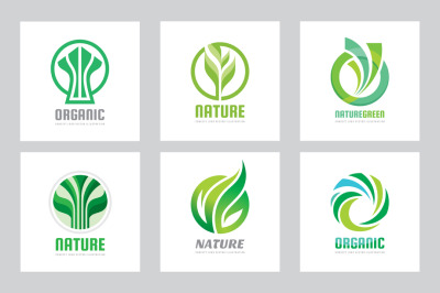 Nature Green Leaves Vector Logo Set