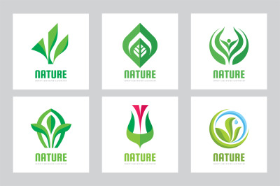 Green Leaves Nature Logo Set