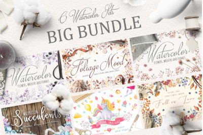 6 WATERCOLOR SETS. BIG BUNDLE