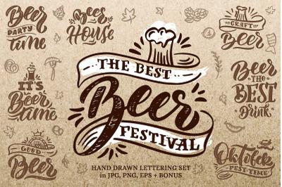 """Beer"" - hand drawn lettering set"