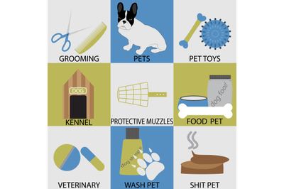 Icon set accessories for pets. Grooming veterinary