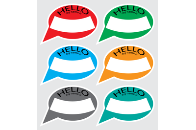Hello my name is sticker badge set color