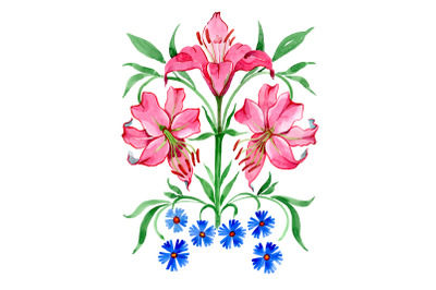 Ornament red lilies watercolor png