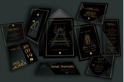 Minimalist Abstract Black  Wedding Invitations Suite