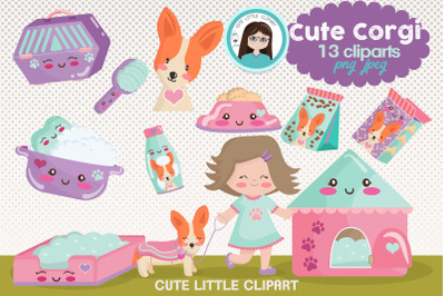 Cute Corgi clipart