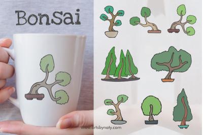 Bonsai Trees Vector Illustration Set.