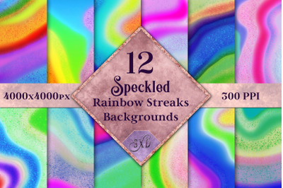 Speckled Rainbow Streaks Backgrounds - 12 Image Textures