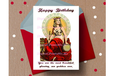 Birthday Card, Leslie Knope card, glowing sun goddess, friendship, pri