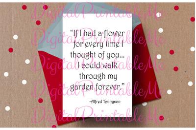 Printable Valentine's day card Alfred Tennyson Quote Love Card Valenti