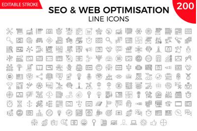 SEO vector line icons set