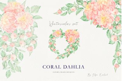 Coral Dahlia Watercolor Set