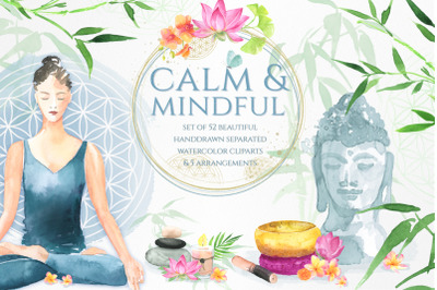 Calm & Mindful hand drawn Watercolor Elements