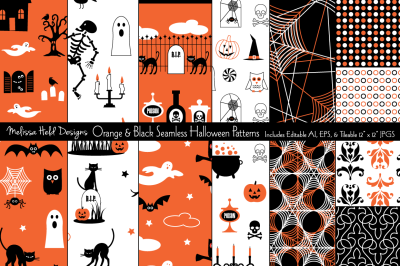 Seamless Orange & Black Halloween Patterns