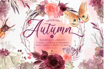celebrate Autumn watercolor clip art