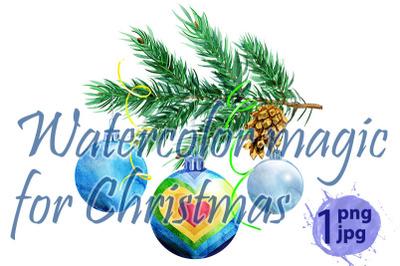 Christmas bulbs watercolor illustration. Bauble with christmas tree br