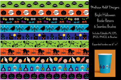 Seamless Bright Halloween Border Patterns