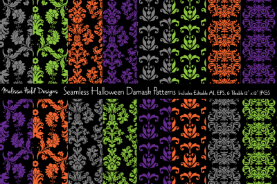 Seamless Halloween Damask Patterns