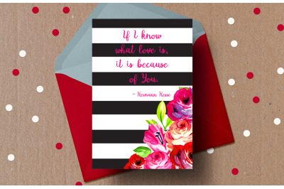 Printable Valentine's day card hermann hesse Quote Love Card If i know