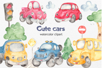 Watercolor cute cars beetle, offroad SUV, school bus, pickup, truck