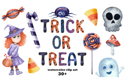 Trick or Treat watercolor Halloween set, png clip art and patterns