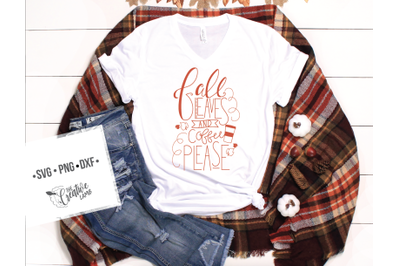 Fall Hand lettering Coffee please cut file