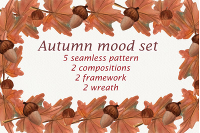 Autumn mood. Set of frames, wreaths and compositions