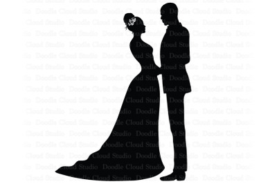 Bride and Groom SVG, Black Couple SVG.