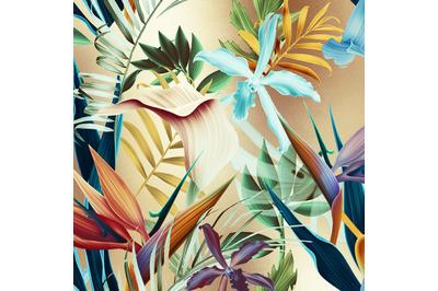 Gold Tropical Flowers Digital Paper