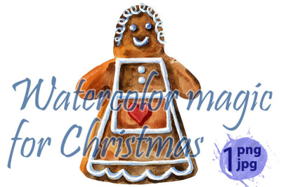 Christmas cookies on an isolated white background, watercolor illustra