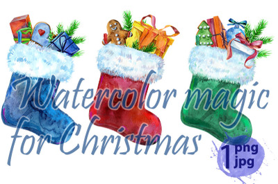 Christmas colorfull socks with gift and white fur. Watercolor illustra