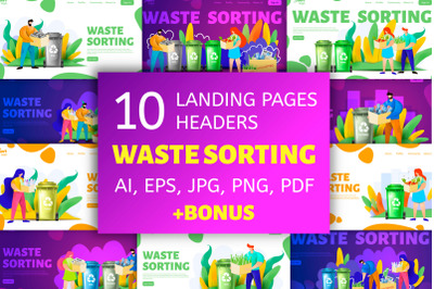 Waste sorting. Landing page headers