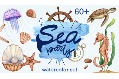 big watercolor set sea life.  Ocean clip art png hand drawn