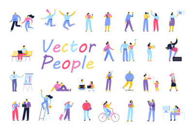 Flat Vector people set
